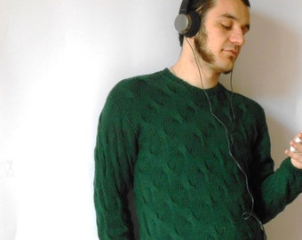 Aran knit Sweater, men sweater in  Pure Merino wool, handknitted cable stitch sweaters, made to order sweater by cosediisa