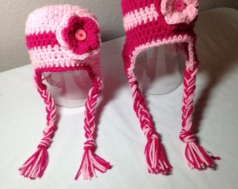 Crochet ANY COLOR any size  flower earflap hat any girl photography prop