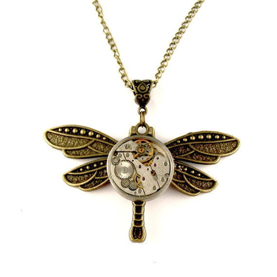 Rustic Clockwork Dragonfly Necklace Steampunk Watch by ...