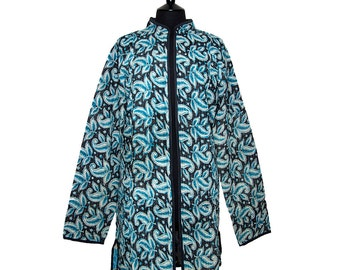 KANTHA JACKET - X Large - Long style - Size 16/18 - Black background with turquoise and white leaf design.