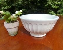 Italian Vintage Ceramic Quadrifoglio white Bowl   ,cafe au lait bowl