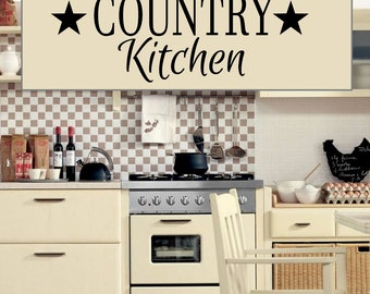 Country Kitchen Removable  Vinyl Wall Decals - Easier Than Paint or Stencils - Select Color