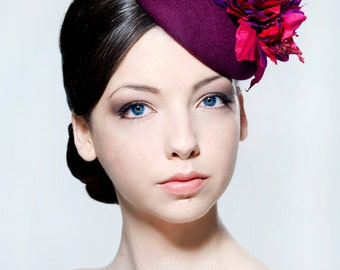 Elegant felt percher hat with silk dupion flower spray perfect for weddings, Ascot or the Melbourne Cup.