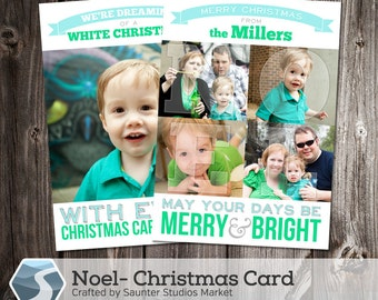 Christmas Card Template: Noel - 5x7 Photoshop Holiday Template for Photographers and Designers