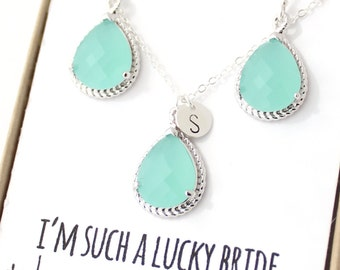 Mint Green / Silver Rope Rim Necklace and Earrings Set - Mint Bridesmaid Jewelry Set - Mint Earrings - Mint Green Necklace ENR1