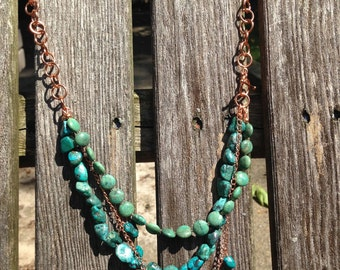 Turquoise and Copper Triple Strand Necklace