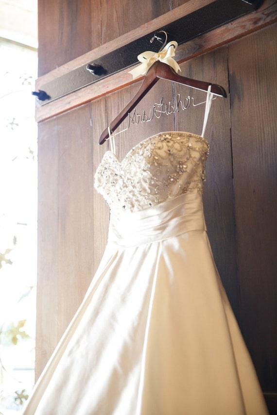 Wedding dress hanger,  bridal shower gift,  bride keepsake, gift for her,  custom hanger,  wire hanger,  name hanger