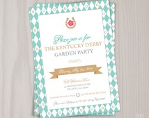 Kentucky Derby Invitation, Garden Party Invite, Brunch, Tea Party, BBQ, Race for the Roses, DIY Printable or Printed Racing for the Aisle