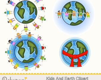 Children and Earth - Globe Clipart