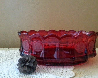 "Fostoria Red Coin Glass 9"" Oval Bowl"