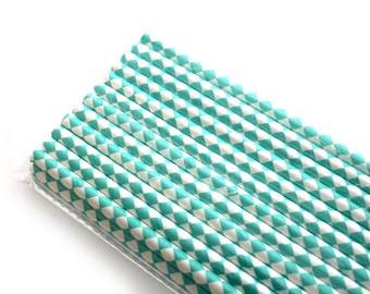 Aqua Diamond Paper Straws (25) - Party Paper Straws, Drinking Straws