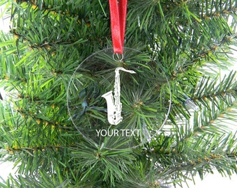 Personalized Custom Saxophone Clear Acrylic Christmas Tree Ornament with Ribbon