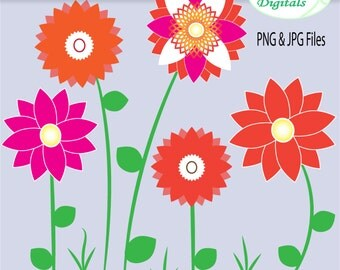 "Flower Clipart - Stemmed flower clipart, bloom clipart and grass clipart ""FLOWERS"""