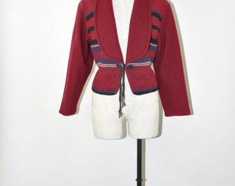 southwest cropped jacket / western wool blanket coat / burgundy stripe blazer / maroon short coat