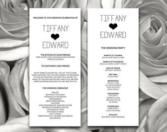 Heart Wedding Program Template Download - DIY Typography Ceremony Program for the Modern Wedding - Printable Wedding Program