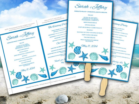 Beach Wedding Fan Microsoft Word Template Blue Lagoon Teal