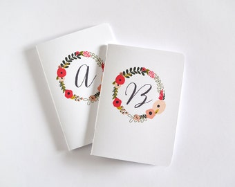 Personalized Journal | Monogram Notebook with Illustrated Floral Pattern : Blooming Wreath Collection