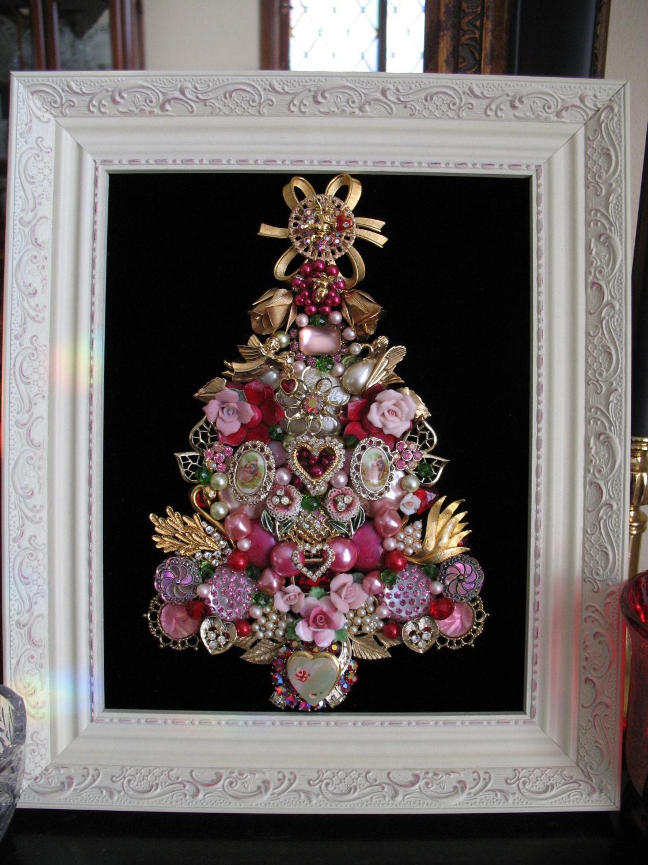 Framed Vintage Jewelry Christmas Tree Valentines Hearts Cupid