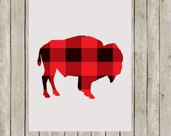 8x10 Buffalo Check Plaid Art Print, Bison Printable Art, Poster, Gray Wild Game Print, Nursery Wall Art, Home Decor, Instant Download