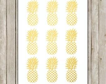 8x10 Pineapple Set Print, Metallic Gold Wall Art, Gold Printable, Modern Poster, Home Decor, Kitchen Art, Gold Art, Instant Digital Download