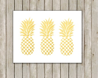 5x7 Pineapple Trio Print, Metallic Gold Wall Art, Gold Printable, Fruit Poster, Home Decor, Kitchen Art, Gold Art, Instant Digital Download