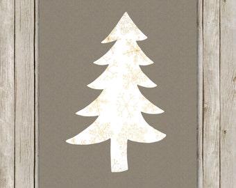 8x10 Christmas Tree, Kraft Paper Print, Snowflake Tree Print, Tree Art, Holiday Wall Art, Holiday Decor, Instant Download, Digital Art Print