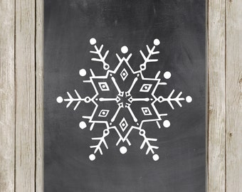 8x10 Christmas Printable Decor, Snowflake Art Poster, Snowflake Wall Art, Chalkboard Printable, Holiday Printable, Decor, Instant Download