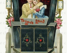 TAXI CAB vintage COUPLE Love Land a Large Digital Download Scrapbook Stand Alone Greeting card Open Carriage craft Man Woman Lovers