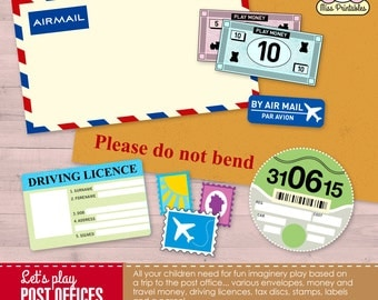 Printable post office set for children's pretend play