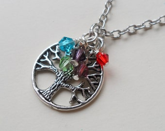 Tree of Life Pendant, Birthstone Necklace, Mothers Necklace, Grandma Necklace, Daughter, Sister, Best Friend, Memorial, Personalized Jewelry