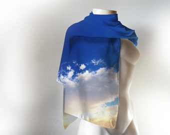 Sky Print Scarf / Blue sky and clouds Scarf / Blue Scarf / Blue and white Scarf/ Blue Pashmina/Sky Scarf/ Clouds Scarf
