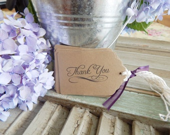 Thank You Favor Tags, wedding thank you tags, favor tags, thank you gift tags, brown kraft paper tags, set of 10