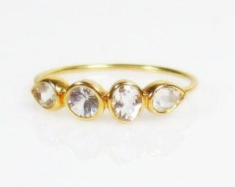 25% OFF White Topaz 14K Rose Gold Ring - Made to Order - Multi stone ring