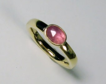 Rose Pink Sapphire 14k gold, Wide Band, Engagement Ring, Rose Cut, Gemstone, Non Traditional, Made to Order