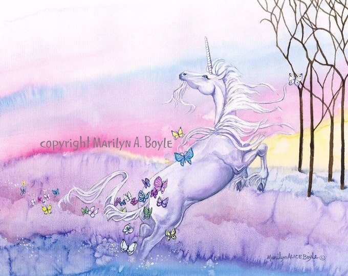 PRINT- UNICORN- FANTASY: spring, butterflies, trees, rainbow colors, child's room, for girl, reproduction,