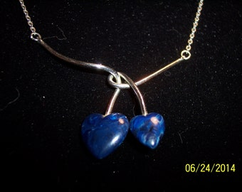 "15"" Silver Necklace with Blue Heart Shaped Stones #189"