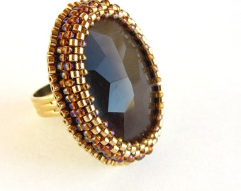 Gold and Topaz Glass Beaded Ring - adjustable bold statement piece