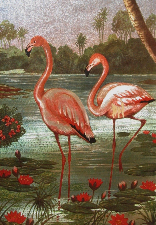Retro Kitsch Pink Flamingo Art Vintage Metallic Flamingo