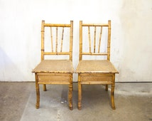 Pair of Antique Raffia and Bamboo Chairs