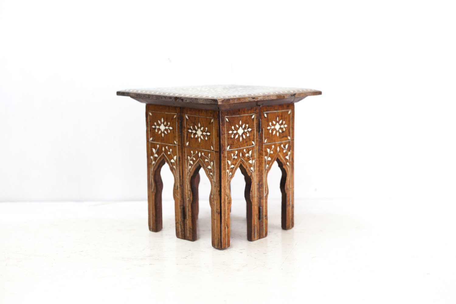 Reserved for layaway inlayed mediterranean small square - Petite table haute ...