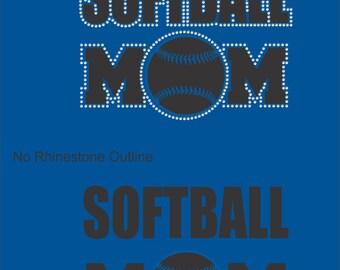 Softball Mom Shirt/ Softball Mom T shirt/ Softball Mom Clothing/ /Vinyl Rhinestone Softball Mom Short Sleeve T-Shirt/ Many Colors