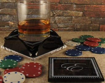 Personalized Black Glass Coaster Set of Four Coasters with Base Engraved with Monogram Design Options & Font Selection (Set of Four)