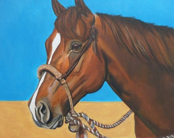 Western horse bosal hackamore bridle American wild west cowboy cowgirl canvas art ranch chestnut pony desert contemporary original painting