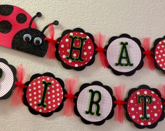 Lady Bug Birthday Banner party decorations red white black green