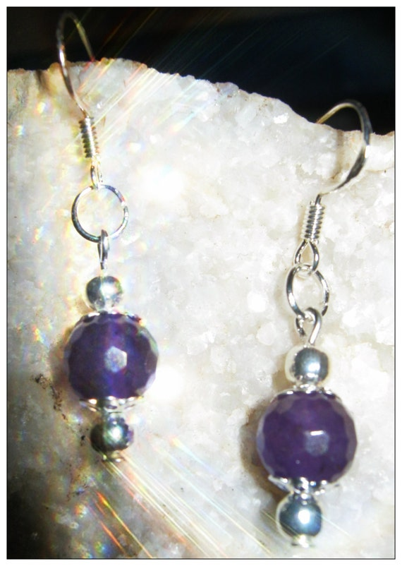 Beautiful Silver Hook Earrings with Facetted Amethyst by IreneDesign2011
