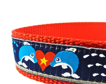LIMITED EDITION --Dolphins dog collar/  dog collar/ ribbon dog collar/ adjustable dog collar