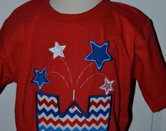 Personalized Initial 4th of July Patriotic Fireworks Firecracker Applique Shirt or Onesie Girl