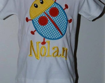 Personalized Bug Applique Shirt or Onesie Boy or Girl