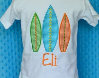Personalized Surf Boards Applique Shirt or Onesie Boy or Girl