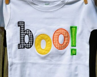 Personalized Halloween Boo! Applique Shirt or Onesie for Boy or Girl
